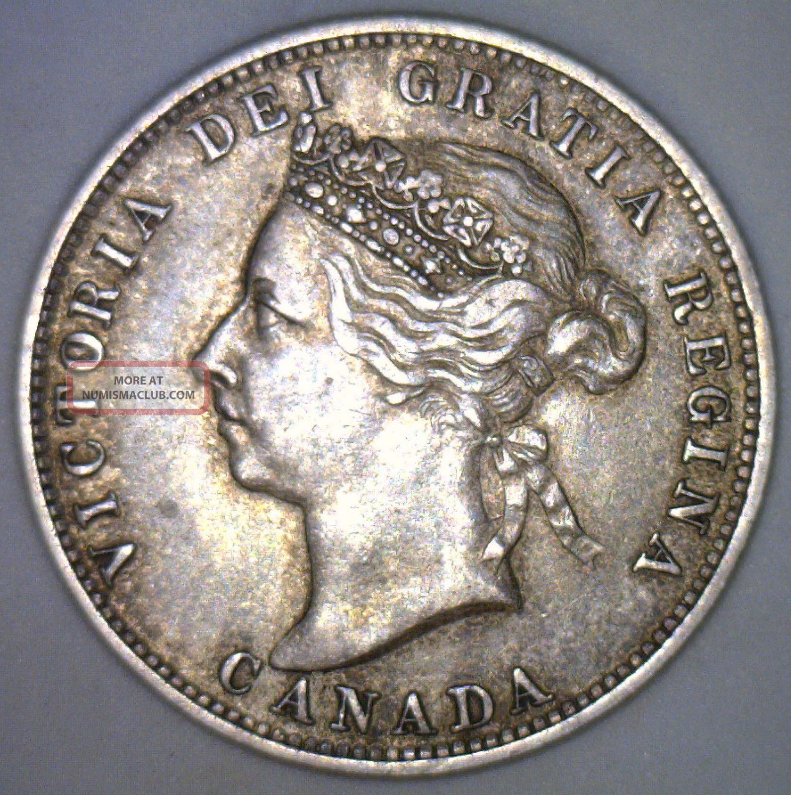 1892 Canadian Silver 25 Cent Quarter Coin Victoria Canada