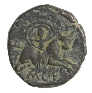 Hispania Castulo Spain Ae27 1st Century Bc Ancient Greek Bronze Coin Burgos 747 photo