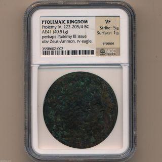 Greek Ancient Egypt Bronze Ptolemy Iv 221 - 204 Bc Alexandria Ngc Vf 01087938b photo