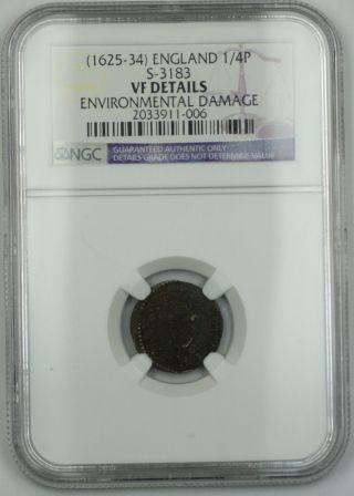 1625 - 34 England 1/4 P Farthing Silver Coin S - 3183 Charles I Vf Dtls Env Dmg Akr photo