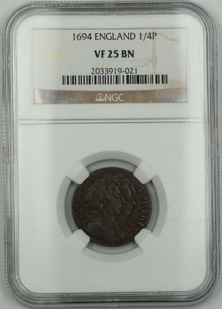 1694 England 1/4 Penny Farthing Copper Coin S - 3452 William Iii Vf - 25 Brown Akr photo