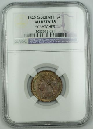 1825 Great Britain 1/4 P Farthing Copper Coin George Iv Au Details Scratches Akr photo