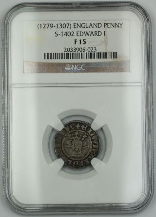 1279 - 1307 England Long Cross Penny Silver Coin S - 1402 Edward I Ngc F - 15 Akr photo