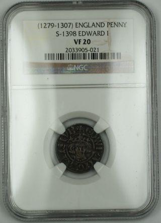 1279 - 1307 England Long Cross Penny Silver Coin S - 1398 Edward I Ngc Vf - 20 Akr photo