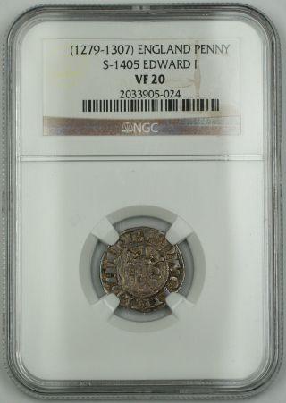1279 - 1307 England Long Cross Penny Silver Coin S - 1405 Edward I Ngc Vf - 20 Akr photo