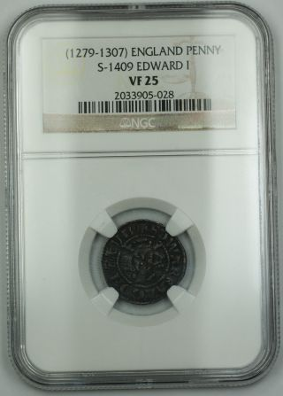 1279 - 1307 England Long Cross Penny Silver Coin S - 1409 Edward I Ngc Vf - 25 Akr photo