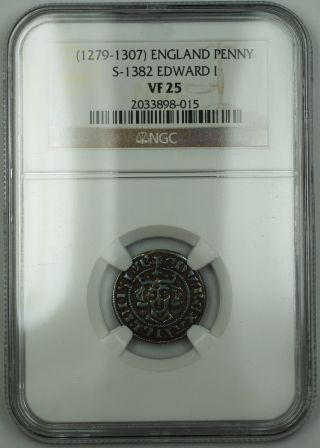 1279 - 1307 England Long Cross Penny Silver Coin S - 1382 Edward I Ngc Vf - 25 Akr photo