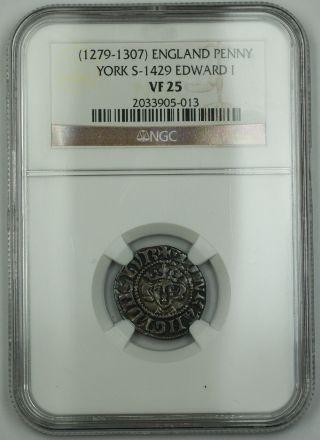 1279 - 1307 England Long Cross Penny Coin York S - 1429 Edward I Ngc Vf - 25 Akr photo