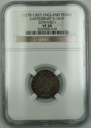 1279 - 1307 England Long Cross Penny Coin Canterbury S - 1419 Edward I Ngc Vf - 30 Akr photo