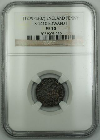 1279 - 1307 England Long Cross Penny Silver Coin S - 1410 Edward I Ngc Vf - 30 Akr photo