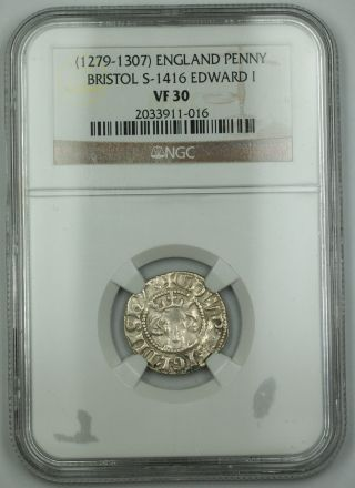 1279 - 1307 England Penny Silver Coin Bristol S - 1416 Edward I Ngc Vf - 30 Bright Akr photo
