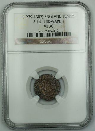1279 - 1307 England Long Cross Penny Silver Coin S - 1411 Edward I Ngc Vf - 30 Akr photo