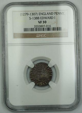 1279 - 1307 England Long Cross Penny Silver Coin S - 1388 Edward I Ngc Vf - 30 Akr photo