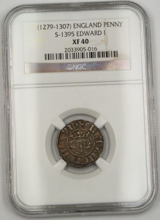 1279 - 1307 England Long Cross Penny Silver Coin S - 1395 Edward I Ngc Xf - 40 Akr photo
