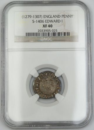 1279 - 1307 England Long Cross Penny Silver Coin S - 1406 Edward I Ngc Xf - 40 Akr photo