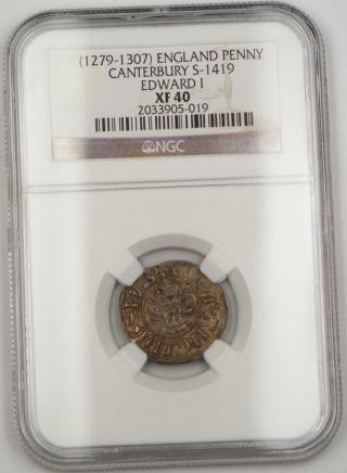 1279 - 1307 England Long Cross Penny Coin Canterbury S - 1419 Edward I Ngc Xf - 40 Akr photo
