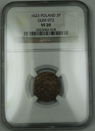 1623 Poland 3 Poltorak Silver Coin Gum - 973 Sigismund Iii Ngc Vf - 20 Akr photo