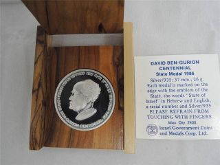 Israel 1986 David Ben - Gurion Centennial Of Birth Medal 26g Silver +coa +wood Box photo