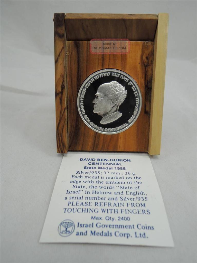 Israel 1986 David Ben-Gurion Centennial of Birth Medal 26g Silver