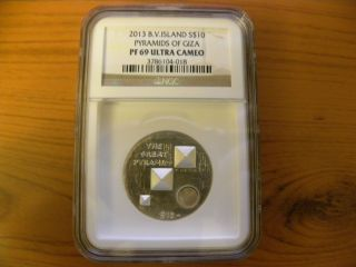 2013 British Virgin Islands $10 Pyramids Of Giza Ngc Pf 69 Ultra Cameo,  Rare photo