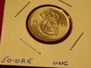1964 Sweden 50 Ore Bu Coin photo