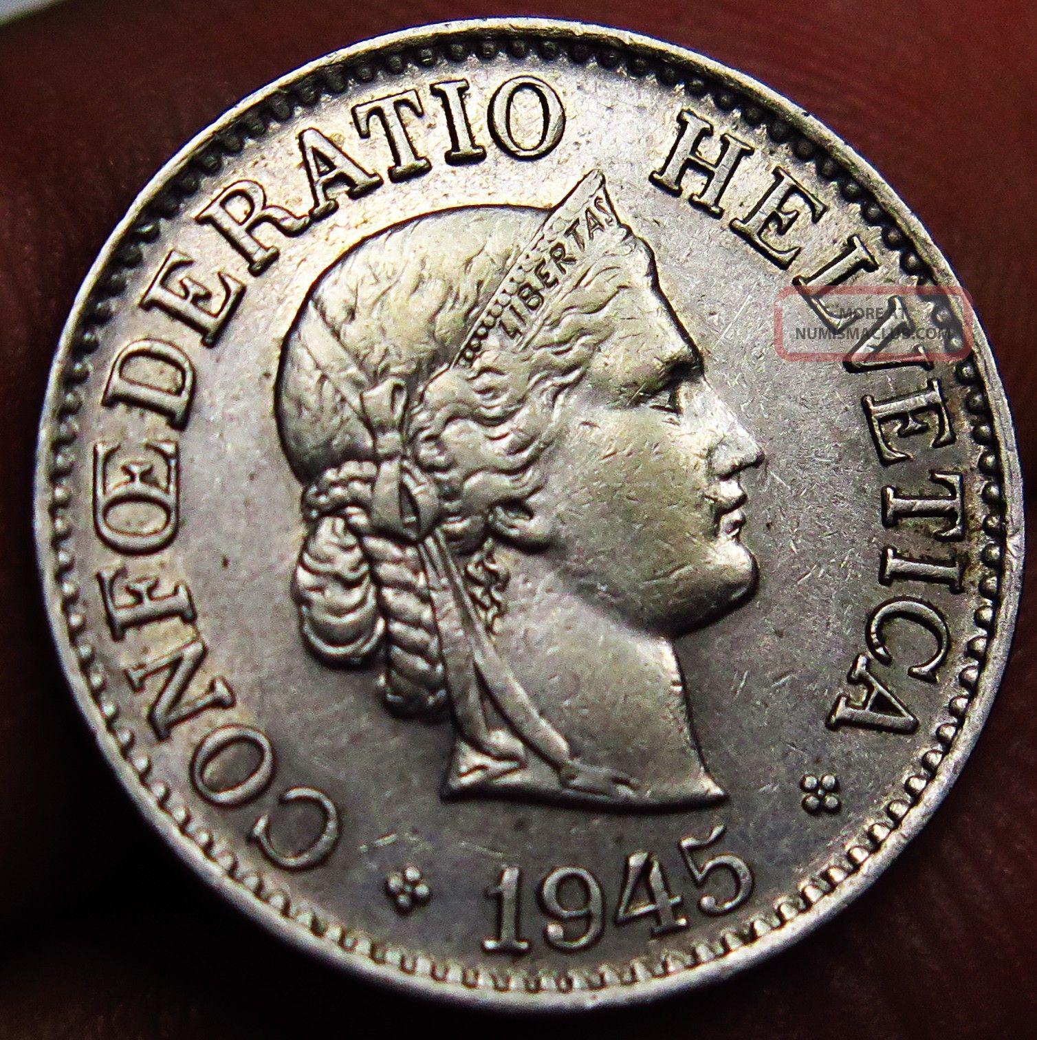 1945 Switzerland 10 Rappen Unc Very Low Mintage