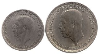 1946 / 1947 Sweden 1 Kronor And 2 Kroner - Silver photo