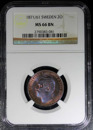 Sweden Bronze Carl Xv Adolf 1871/61 2 Ore Ngc Ms66 Bn Km 706 Scarce Top Grade photo