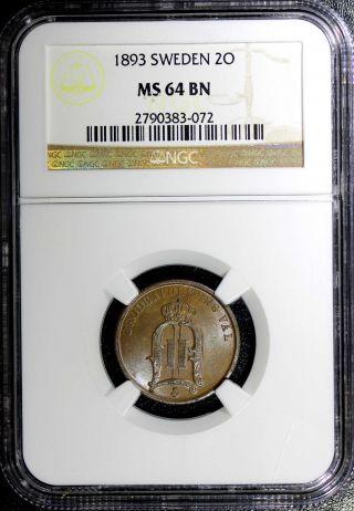 Sweden Bronze Oscar Ii 1893 2 Ore Ngc Ms64 Bn Km 746 Low Mintage:558,  000 photo