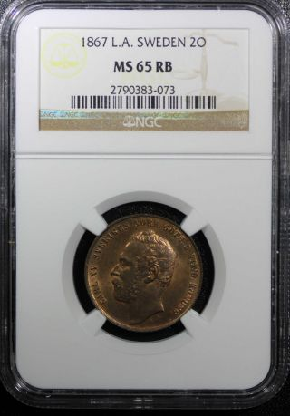 Sweden Bronze Carl Xv Adolf 1867 L.  A.  2 Ore Ngc Ms65 Rb Km 706 Mintage:428.  000 photo