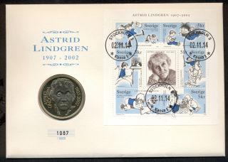 Sweden Astrid Lindgren (pippi Longstocking) 50 Kronoer 2002 Limited Edition photo