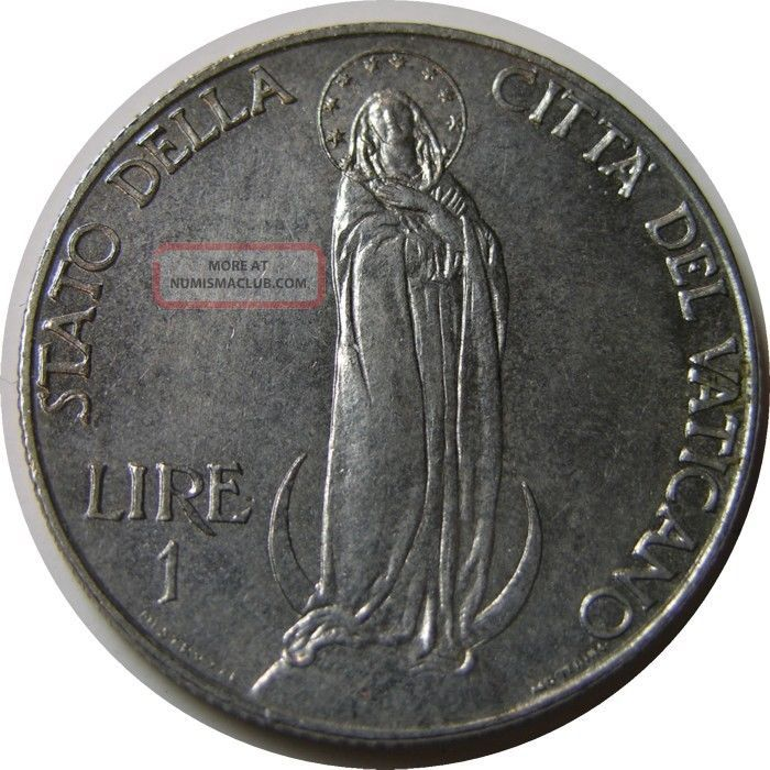Elf Vatican City 1 Lira 1940 Pius Xii Virgin Mary World War Ii