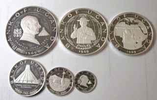Elf Uganda 6 Piece 1970 Silver Proof Papal Visit By Pope Paul Vi photo