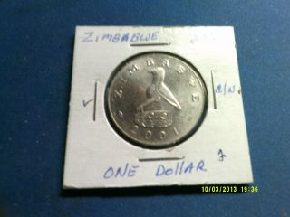 Zimbabwe 1 Dollar C/n 2001 Km5a Unc. photo