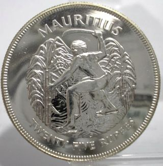1977 Mauritius 25 Rupees Large Silver Coin Unc photo