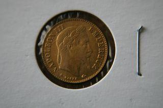 France 1864 - A Gold Coin 10 Francs - Emperor Napoleon Iii photo