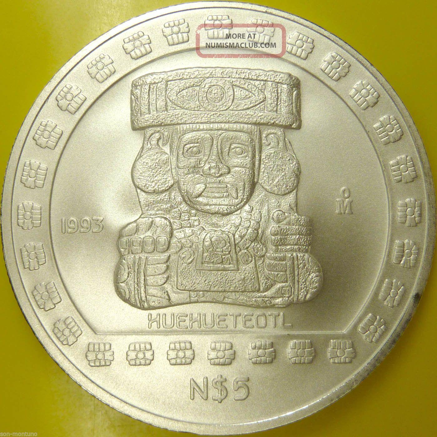 Old Aztec God Silver Coin 1993 1 Oz Mexican 999 Bullion