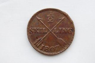 Sweden 1/2 Skilling 1807 Vf/xf photo