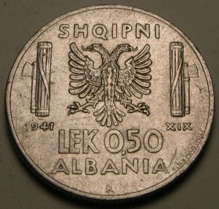 Albania (italian Occupation Wwii) 0.  50 Lek 1941 R - Stainless Steel - Vf photo