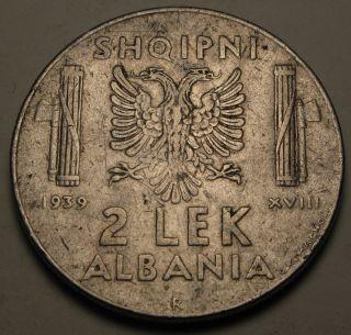 Albania (italian Occupation Wwii) 2 Lek 1939 R - Stainless Steel photo