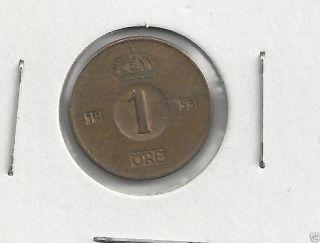 Sweden,  1953 1 Ore,  Brown Unc photo