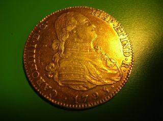 Spain 4 Escudos Gold Doubloon 1793.  Carolus Iiii.  M - Mf.  Vf++. photo