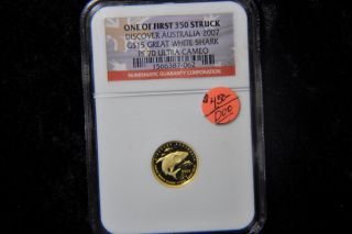 Discover Austrilia 2007 G$15 Great White Shark Pf 70 Ultra Cameo Ngc photo