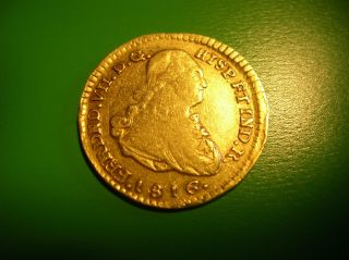 Colombia Spanish Colonial 1 Escudo Gold Doubloon 1816 Ferdinand Vii. photo