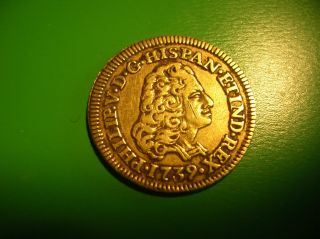 Spain 1 Escudo Gold Doubloon 1739 Philip V.  Madrid.  Xf. photo