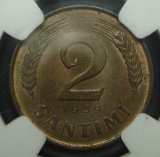 Latvia 2 Santimi 1939 Unc Ngc Ms64 Rb photo