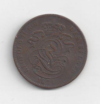 1874 Belgium 2 Centimes,  Circulated,  S&h photo