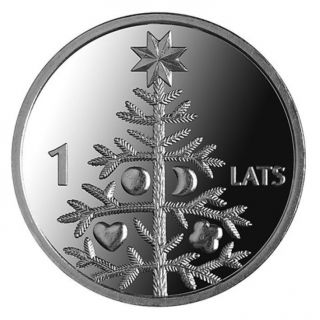 Latvian 1 Lat Coin Christmas Tree 2009 photo