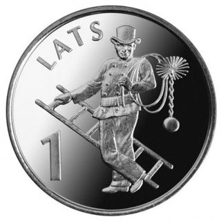 Latvian 1 Lat Coin Chimney - Sweep 2008 photo
