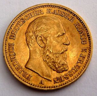 German States - Prussia 20 Gold Mark 1888 7.  96 Gr.  0.  2304 Oz.  0.  900 Gold 1 - Year photo